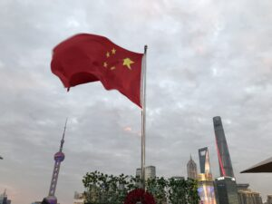 Chinese flag in the wind